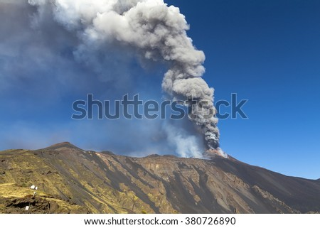 typical of volcanic ash plume shaped by the wind - stock photo