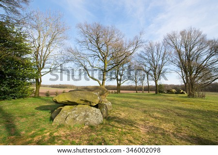 Typical old Dutch graves in Drenthe - stock photo
