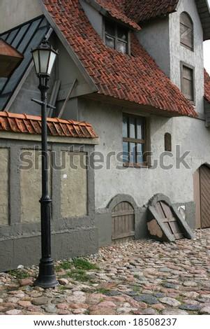Typical old european city view (Riga, Latvia) - stock photo