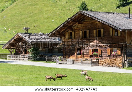 Typical Old Farmhouse At The European Alps