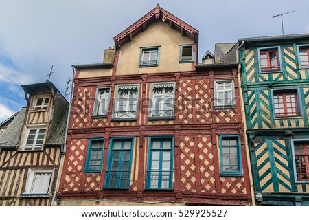 Typical Old half-timbered buildings in Rennes, Brittany, France.