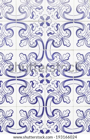 Typical old Lisbon tiles, detail of a classic ceramic tiles, art of Portugal - stock photo