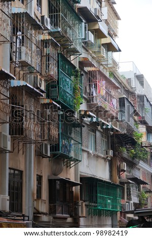 Typical old style blocks of apartments in Macau. China.