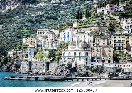 typical old town at the amalfi-coast in italy
