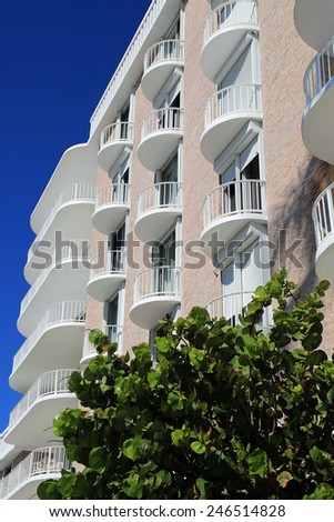 Typical Palm Beach architecture with pastel colors and white balconies - stock photo