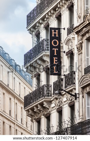 Typical parisian hotel - stock photo