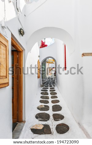 Typical pathway in Mykonos old town, Greece, Europe - stock photo