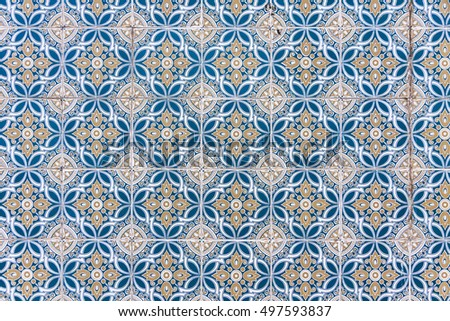 Typical Portuguese old ceramic wall tiles (Azulejos). Seamless pattern can be used for wallpaper, pattern fills, webpage background, surface textures