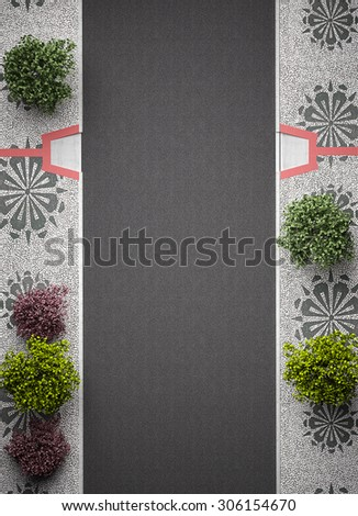 """Typical Portuguese """"sidewalk"""" mosaic cobble stone paving, view above with asphalt and trees  - stock photo"""