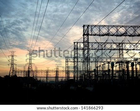 typical power lines, pylon and electrical substation
