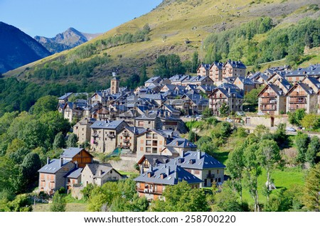 Typical pyrenees architecture in Taull, Lleida, Catalonia, Spain. - stock photo