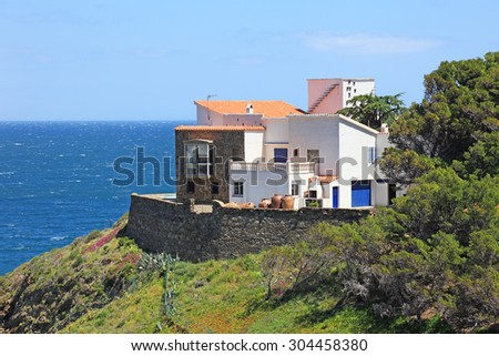 Typical real estate of mediterranean seashore, Cerbera village, also known as Cervera de la Marenda. - stock photo
