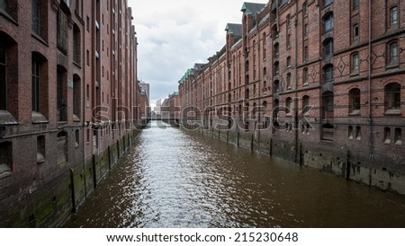 Typical red brick architecture as found around the harbor and docs of Hamburg, Germany.
