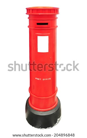 typical red british postbox isolated on white background - stock photo