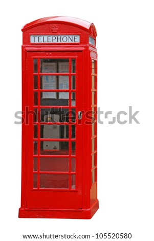 typical red british telephone booth isolated on white background - stock photo