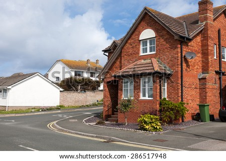 Typical redbrick house, England. - stock photo