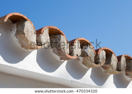 Typical roof construction on spanish property