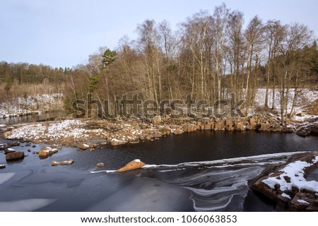 Typical Rural Landscape In Sweden On A Cold Winter Day