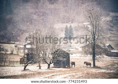 Typical Rustic And Winter Landscape Of The Alps First Snowfall Horses Under Snow