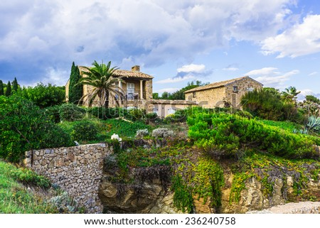 Typical rustic the French house - stock photo