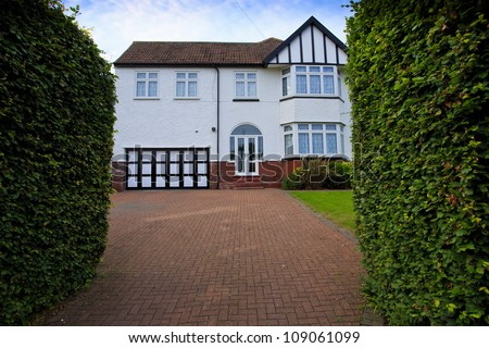 Typical 1930s white detached house bay stock photo for 1930s bay window construction