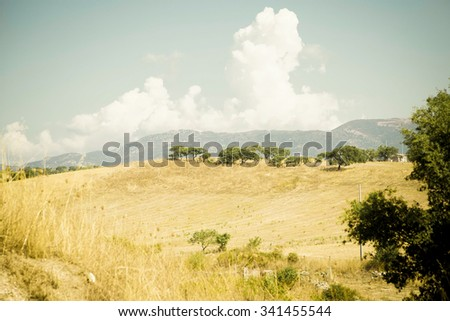 typical Sardinian landscape in a deserted scene - stock photo