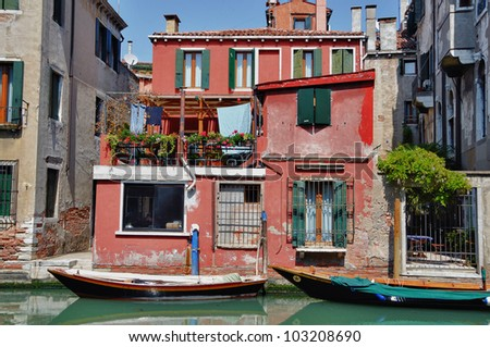 Typical scene of Venice City and its ancient architecture in Italy