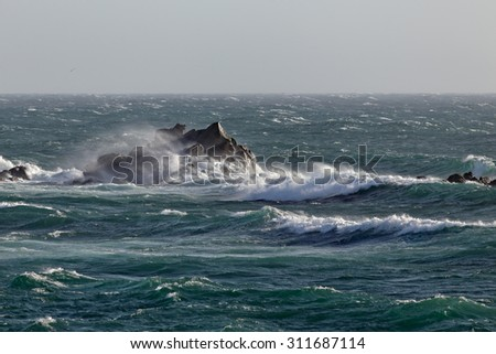 Typical seascape of the northern Portuguese coast during north winds days - stock photo