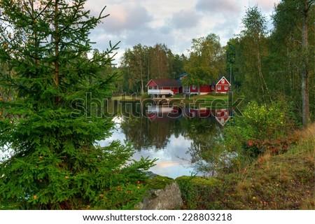 Typical september landscape in Sweden - stock photo