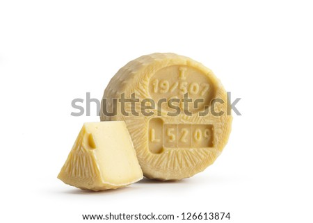 Typical Sicilian cheese from cow called TUMAZZO, on white background - stock photo