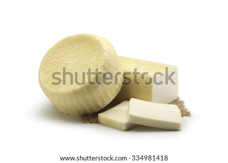 Typical Sicilian fresh cheese On white background - stock photo