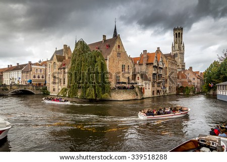 Typical sightseeing scenery, Bruges,Belgium   - stock photo