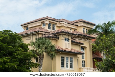 Typical South Florida Modern Villa House Architecture In Spanish Style