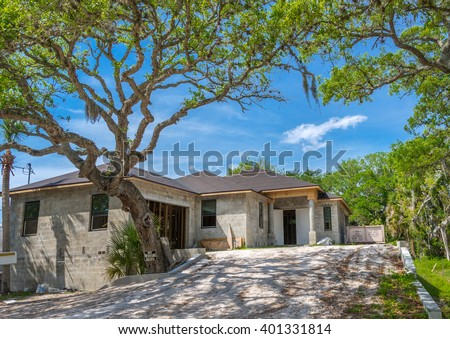 Typical Southwest Florida Concrete Block and Stucco Home Under Construction - stock photo