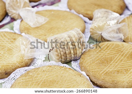 Typical Spanish cream homemade pie, a sweet dessert detail of artisan food in a street market - stock photo