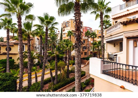 Typical spanish residential houses. Alicante province, Spain - stock photo