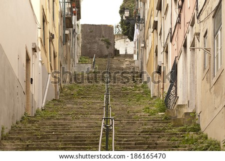 Typical stairs from old Lisbon in Portugal  - stock photo