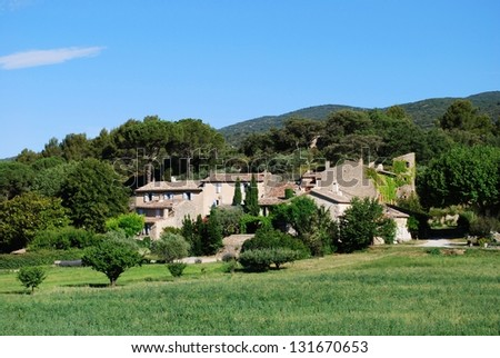 Typical stone houses in Lourmarin village, Vaucluse department, Provence, France