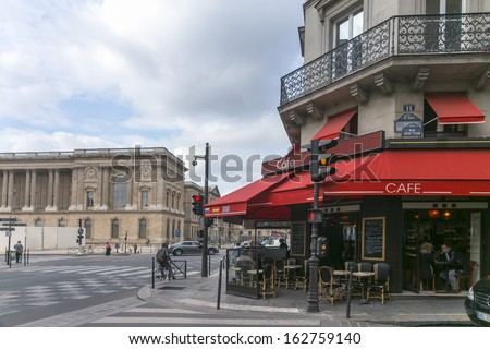 Typical street cafe shop in Paris - stock photo