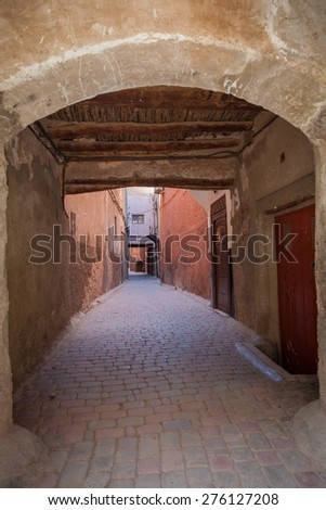Typical Street In The Medina Of Marrakech - stock photo