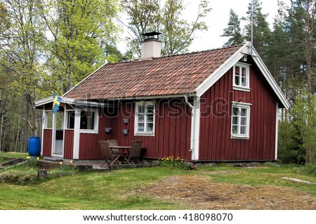 Typical swedish summer house. - stock photo