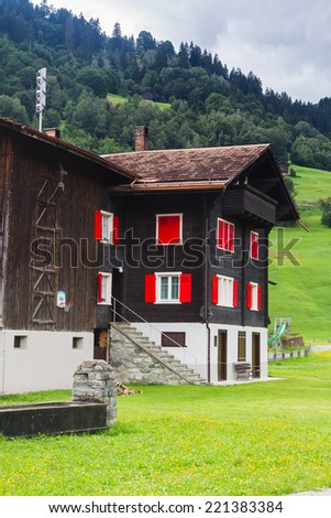 Typical swiss house, Switzerland. - stock photo