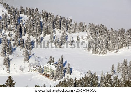 Typical swiss winter season landscape. February 2015, Switzerland. - stock photo