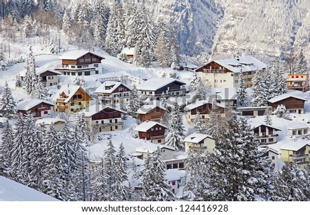 Typical swiss winter season landscape. January 2013, Switzerland. - stock photo