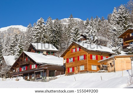 Typical swiss winter season landscape. March 2013, Switzerland. - stock photo