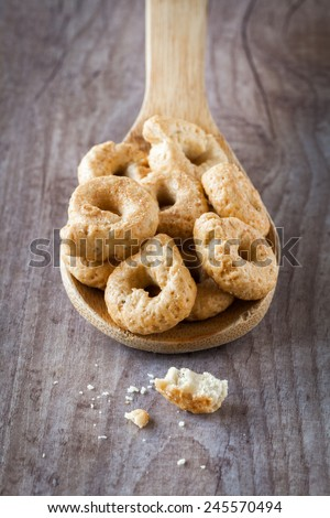 Typical taralli snack from Apulia region in Italy - stock photo