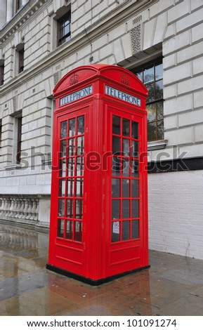 Typical telephone booth of London, Great Britain - stock photo