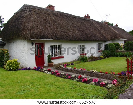 Typical Thatched Roof House in Ireland