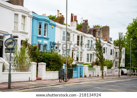 Typical town houses in Brighton. England, UK - stock photo