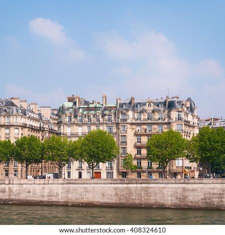 Typical town houses in Parir at Quais de Seine. - stock photo